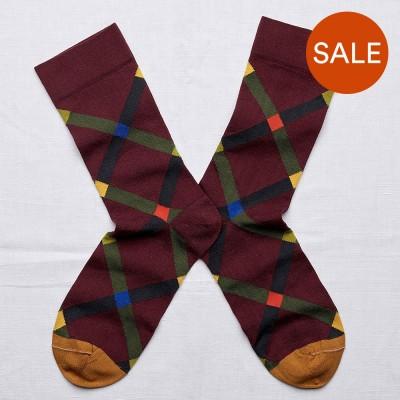 Bonne Maison Socks - Maroon Argyle