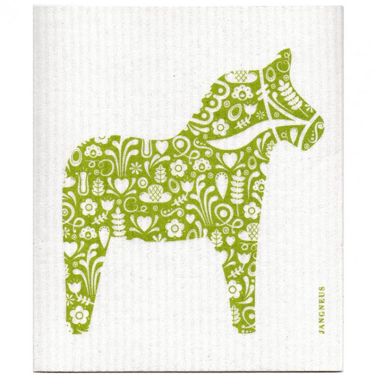 Jangneus Cellulose Dishcloth - Green Dala Horse