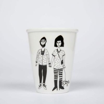 Helen B Porcelain Beaker - Dog Couple