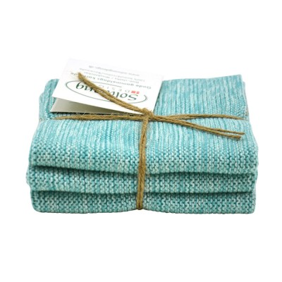 Danish Cotton Dishcloth Trio - Aqua Marl