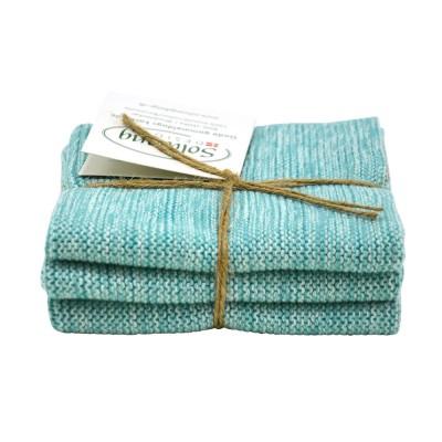 Danish Cotton Dishcloth Trio - Aqua Marl