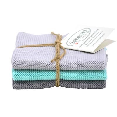 Danish Cotton Dishcloth Trio - Aqua Grey