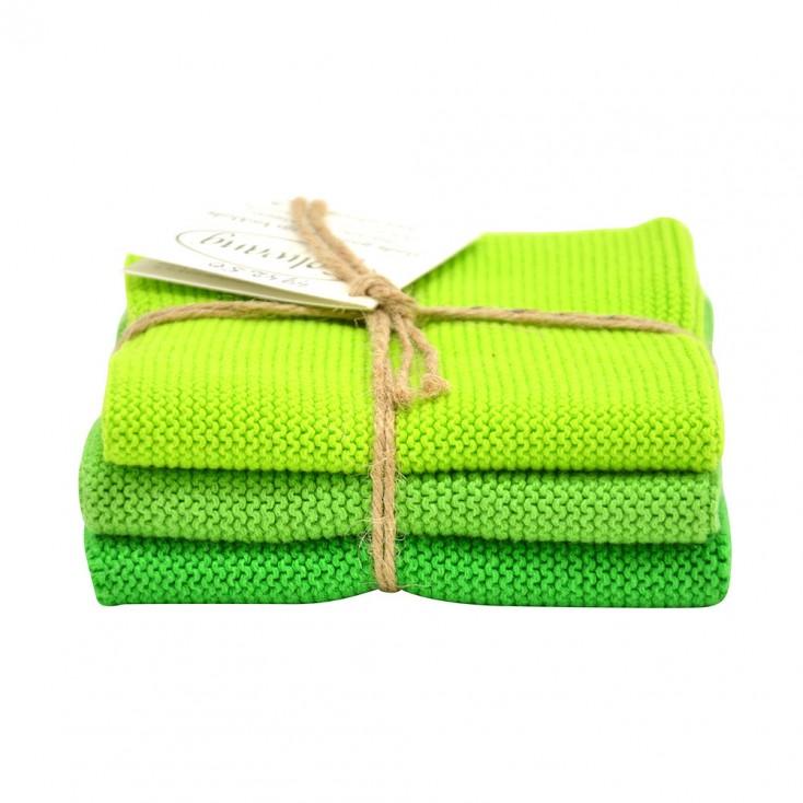 Danish Cotton Dishcloth Trio - Bright Green