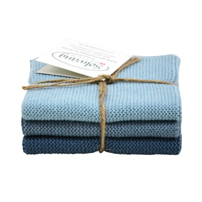 Danish Cotton Dishcloth Trio - Rustic Blue