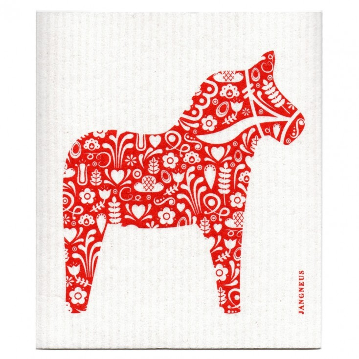Jangneus Cellulose Dishcloth - Red Dala Horse