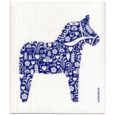 Jangneus Cellulose Dishcloth - Blue Dala Horse