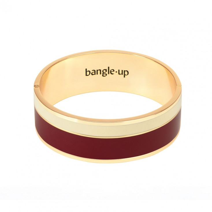 Bangle Up Vaporetto Enamel Hinged Bracelet - Burgundy