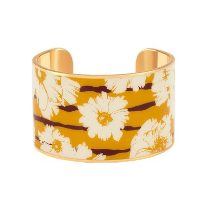 Bangle Up Swann Wide Enamel Cuff - Saffron