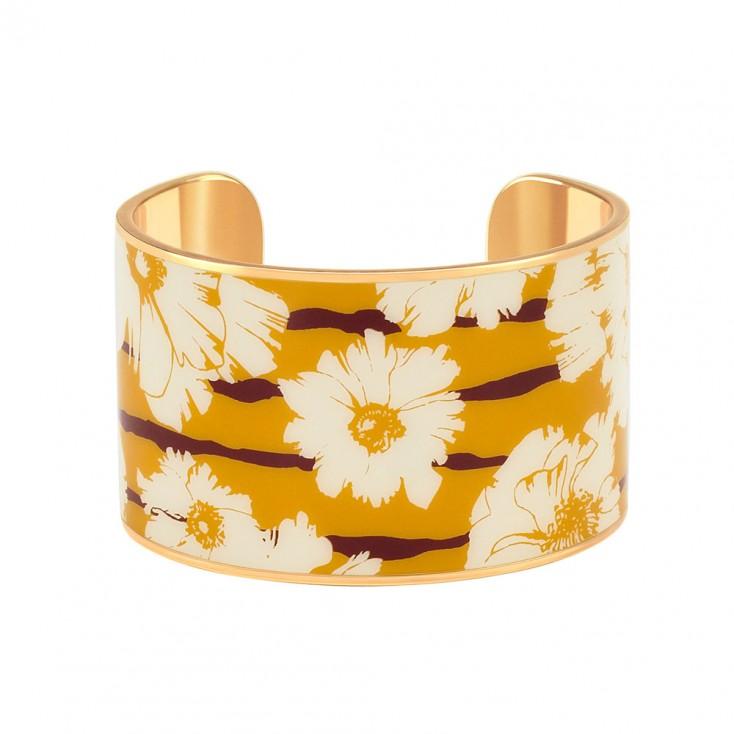 Bangle Up Swann Wide Enamel Cuff - Saffron