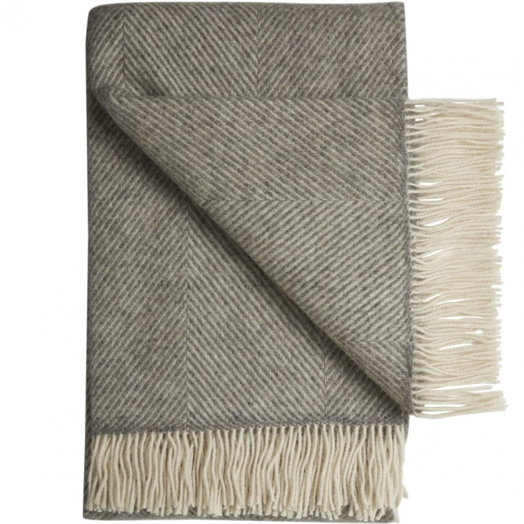 Bornholm Scandinavian Wool Throw - Herringbone Stripe