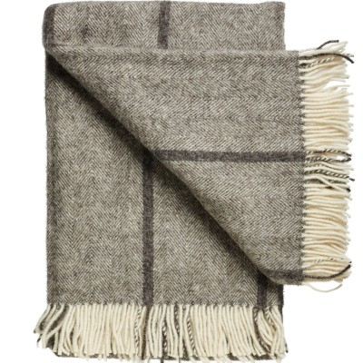 Bornholm Scandinavian Wool Throw - Charcoal Stripe