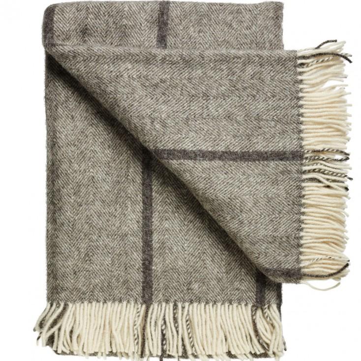 Bornholm Scandinavian Wool Throw - Charcoal Stripe