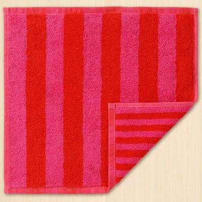 Marimekko Face Cloth - Kaksi Raitaa Red & Pink Stripe