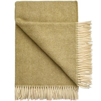 Rømø Herringbone Wool Throw - Moss