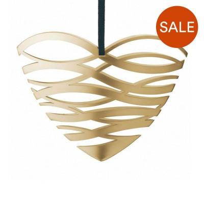 Stelton Large Tangle Heart Ornament - Brass