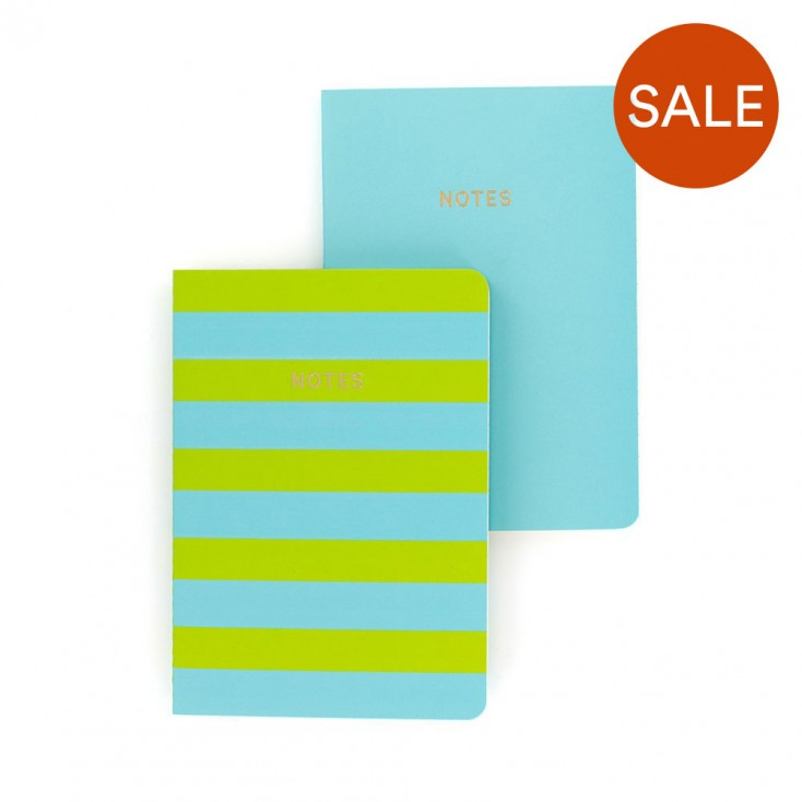 Colourblock A6 Notebook Set of 2 - Turquoise & Lime Stripe