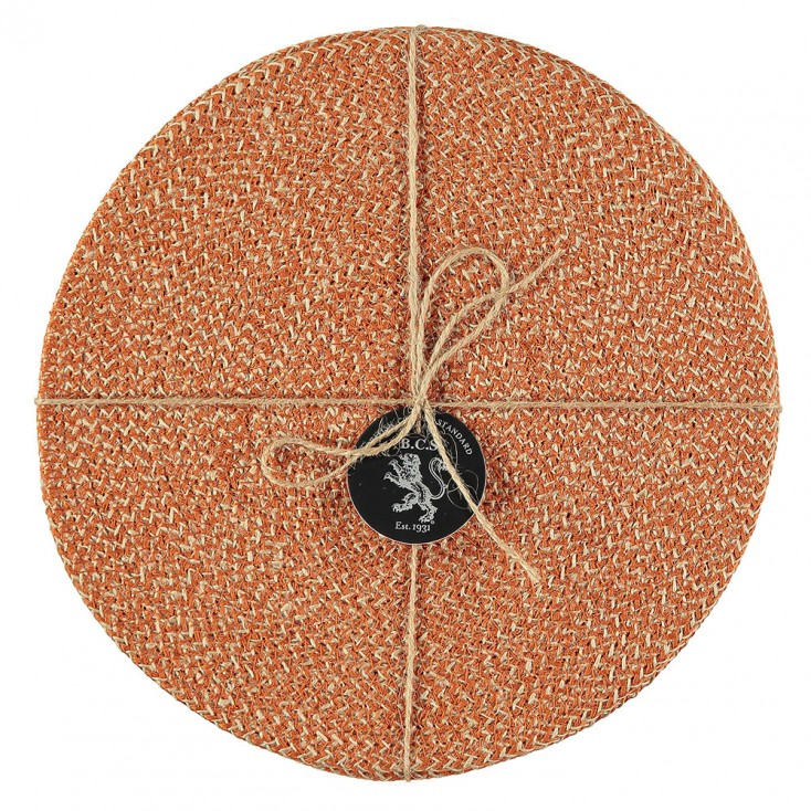 British Colour Standard Jute Placemats - Tangerine