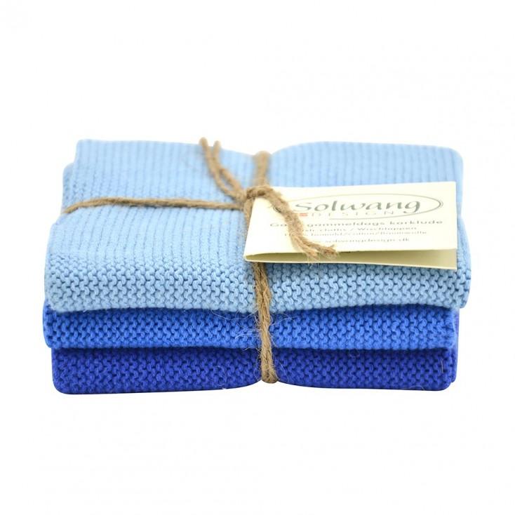 Danish Cotton Dishcloth Trio - Blue