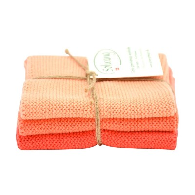 Danish Cotton Dishcloth Trio - Coral