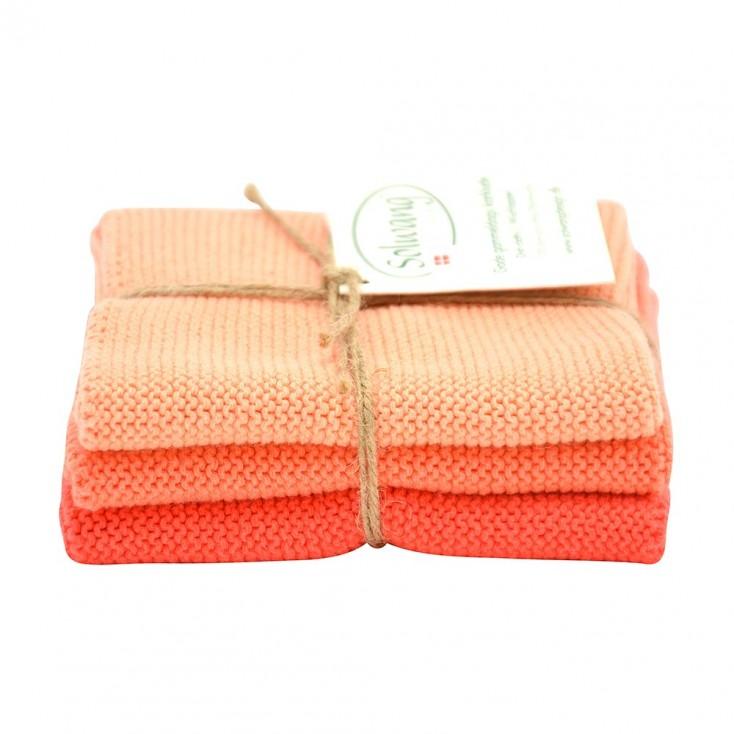 Danish Cotton Dishcloth Trio - Coral