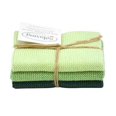 Danish Cotton Dishcloth Trio - Dark Dusty Green