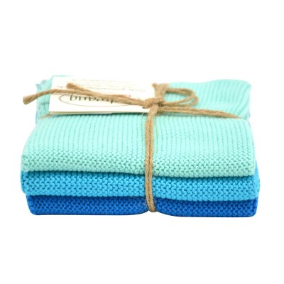 Danish Cotton Dishcloth Trio - Dark Aqua