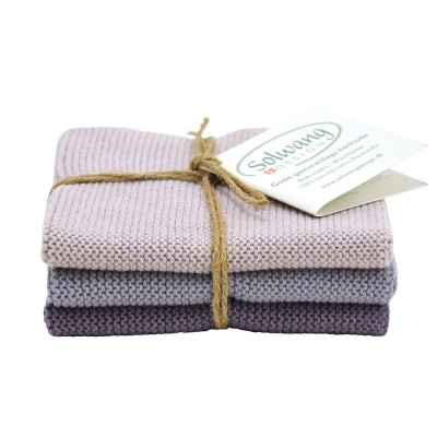 Danish Cotton Dishcloth Trio - Dusty Purple