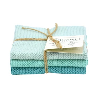 Danish Cotton Dishcloth Trio - Light Petrol