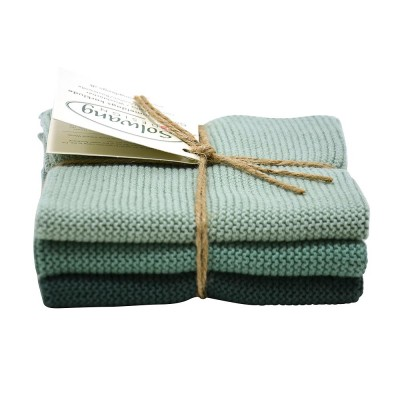 Danish Cotton Dishcloth Trio - Rustic Green