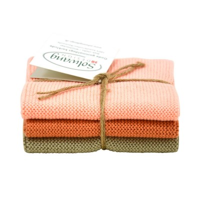 Danish Cotton Dishcloth Trio - Apricot Olive