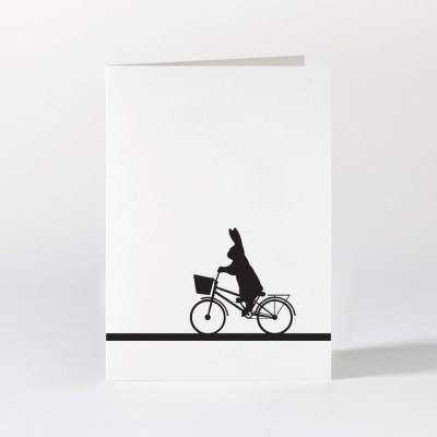 Ham Greeting Card - City Bike Rabbit