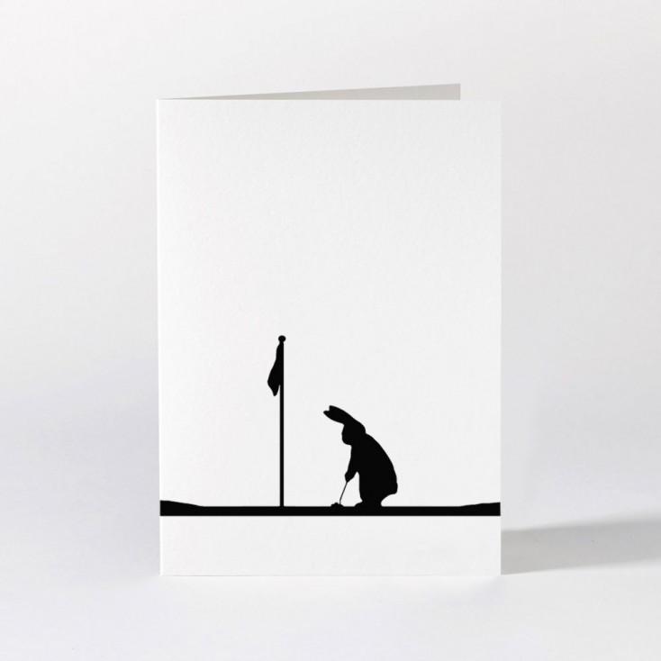 Ham Greeting Card - Golfing Rabbit