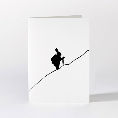 Ham Greeting Card - Hiking Rabbit