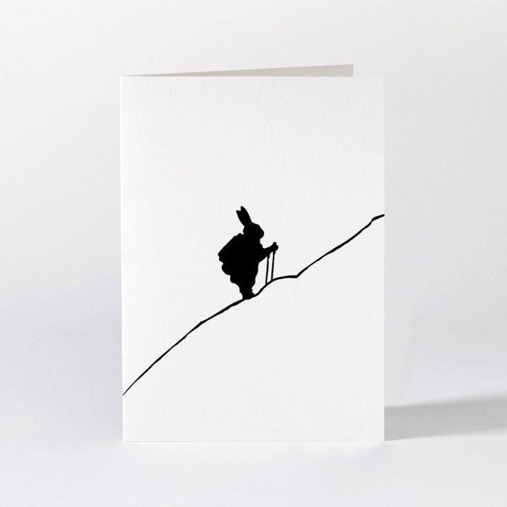 Ham Greeting Card - Hiking Rabbit