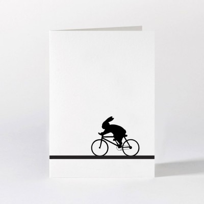 Ham Greeting Card - Racing Bike Rabbit