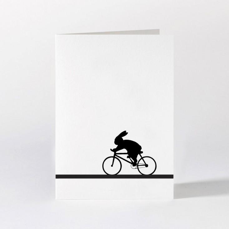 Ham Greeting Card - Racing Bike Rabbit