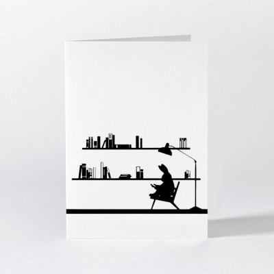 Ham Greeting Card - Reading Rabbit