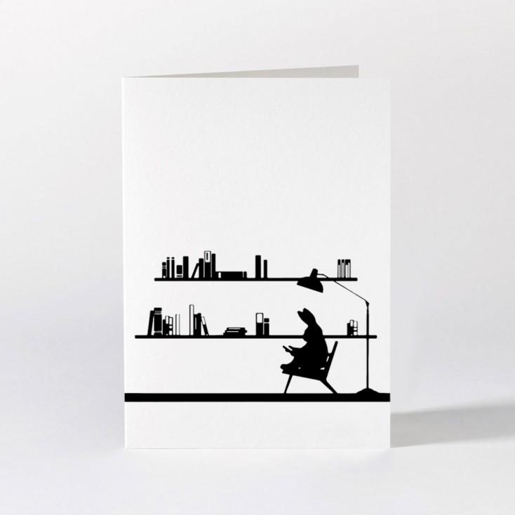 Ham Greeting Card - Reading Rabbit