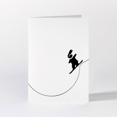 Ham Greeting Card - Snowboarding Rabbit