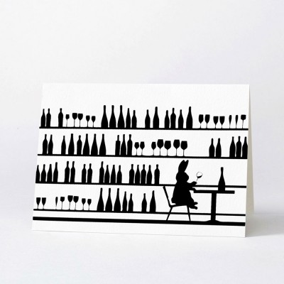 Ham Greeting Card - Wine Tasting Rabbit