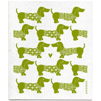Jangneus Dishcloth - Green Dachshund