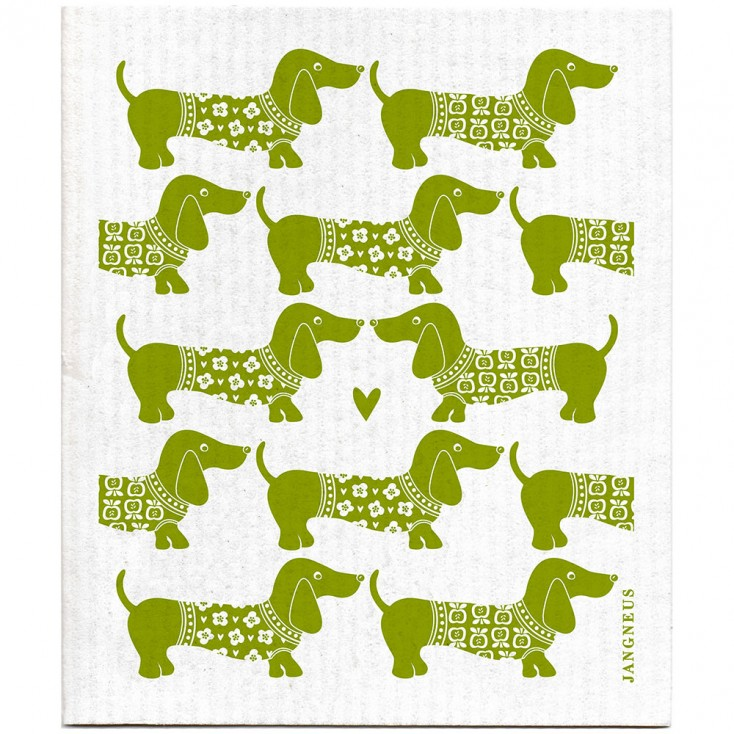 Jangneus Dishcloth - Green Dachshund