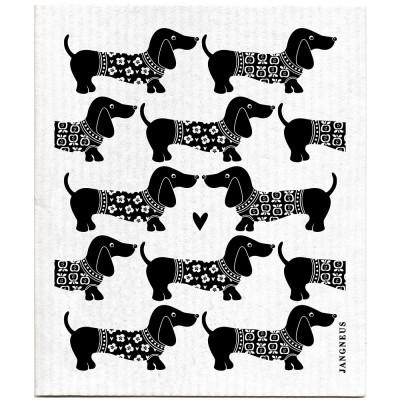 Jangneus Dishcloth - Black Dachshund
