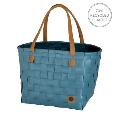 Handed By Colour Block Shopper - Teal Blue
