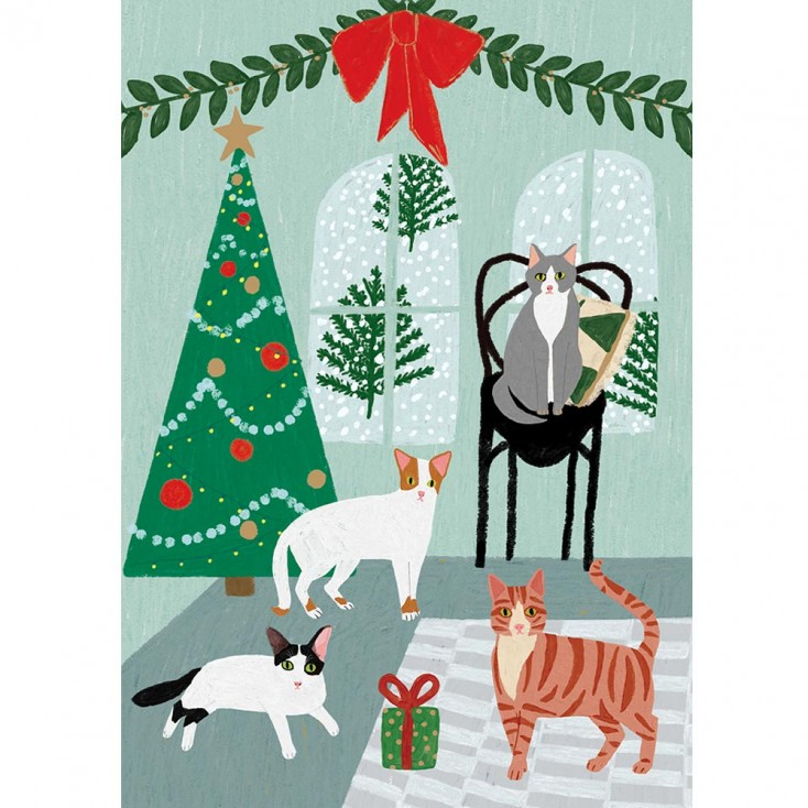 Fireside Cats Christmas Card - Pack of 5