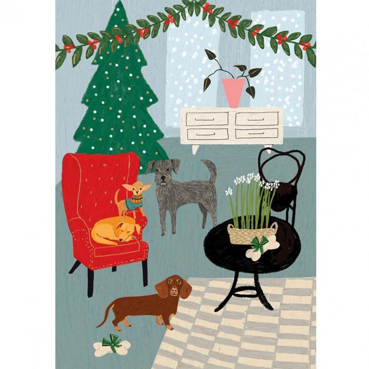 Fireside Dogs Christmas Card - Pack of 5