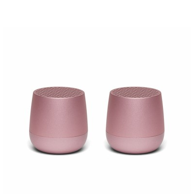 Lexon TWIN MINO Pairable Bluetooth Speakers - Light Pink