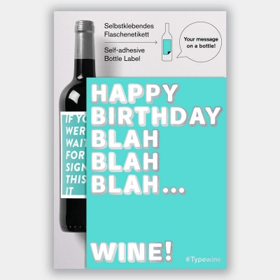 Typewine Wine Bottle Label - Blah Blah Blah