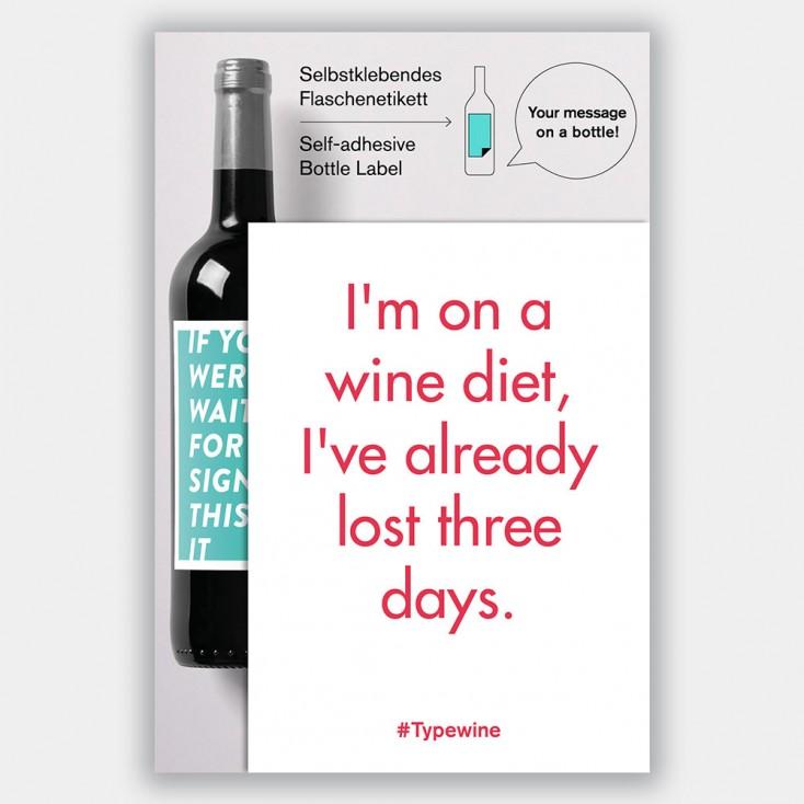 Typewine Wine Bottle Label - Wine Diet