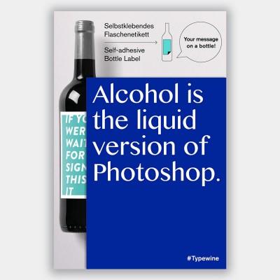 Typewine Wine Bottle Label - Liquid Photoshop